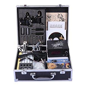 Shark Professional Tattoo Kit 4 Machines Gun Carry Case With Key Power...