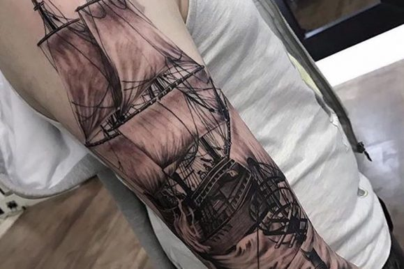 95+ Best Pirate Ship Tattoo Designs & Meanings – Masters of the Seas (2019)